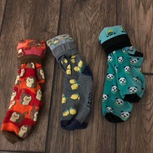 Funky socks - set of 3 lemons, cats, pandas